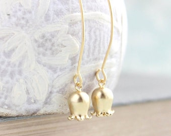 Lily of the Valley Earrings Long dangle earrings Matte Gold Bell Flower Tulip Earrings Small Earring Nickel Free Spring Floral Jewelry