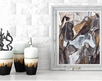 Medium ORIGINAL Abstract Painting, Black White Gray Brown Tan Line Painting, Acrylic Ink Painting, Abstract Art Line Painting, Calico