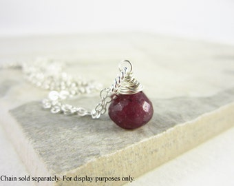 Sm - Natural Ruby Gemstone Jewelry - Genuine Ruby Pendant of Sterling Silver - Born in July Birthstone Jewelry - Wire Wrap Gemstone Charms