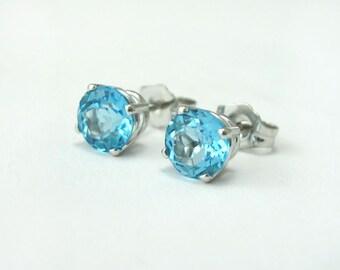Blue Topaz Stud Earrings, Blue Topaz Earrings, Simple Stud Earrings, Antique Blue Topaz Stud Earrings, Topaz Earrings, White Gold Earrings