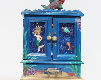 Vintage Jewelry Box Trinket Box Dresser Box Keepsake Box Nautical Beach Coastal Mermaids Fish Aquatic Ocean Sea Hand Made Hand Crafted OOAK