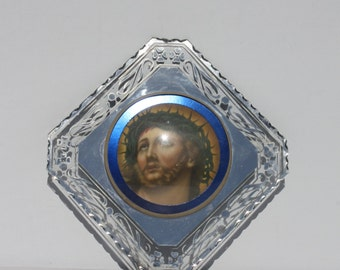 Vintage Jesus Christ Crown Of Thorns Beveled Pie Crust Cut Edge Glass Mirror Foil Reverse Painting Convex Bubble Glass Religious Wall Decor
