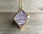 Lavender Fluorite Octohedron Necklace // 14k Gold Fill