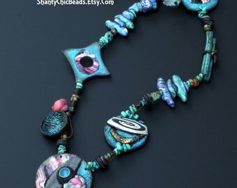 """Polymer Clay Handmade Necklace - """"Cosmos""""  Contemporary STATEMENT Necklace"""