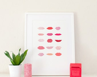 Besos Art Print | Lip Pattern | Home Decor | Pink & Red