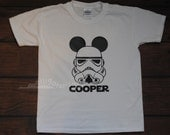 Mickey Storm Trooper Shirt with customized name Mickey Inspired Star Wars Shirt Disneyland Disney World Ears -- YOUTH sizes