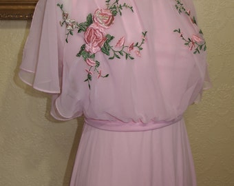 rose embroidered beautiful pink chiffon dress brides maid dress mother of bride dress wedding dress SIZE 8-10