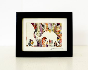 Elephant and Baby - Mother and Child Miniature Collage Paper Cut Art