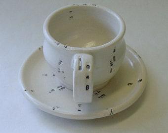 Typewriter Key Porcelain Espresso Mug and Saucer Set