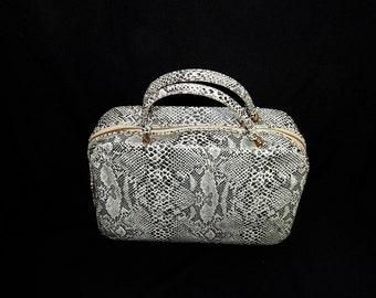 Cute vintage 50's 60's snakeskin hangbag purse briefcase suitcase white grey black red vinyl bombshell pin up mod rectangular MCM