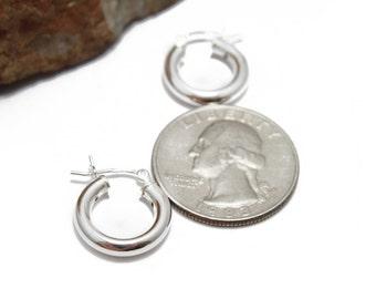 Sterling Silver Huggie Hoop Earrings 15mm in Diameter