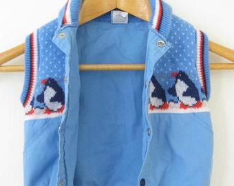 Vintage Baby Toddler Blue Penguin Winter Vest