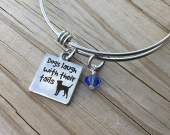 "Dog Quote Charm Bracelet- ""Dogs laugh with their tails"" laser etched charm with an accent bead in your choice of colors"
