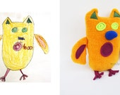 Custom plush animal Turn your kids drawings into toys Custom made owl softie - MADE TO ORDER