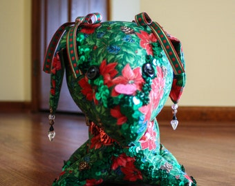 Stuffed Christmas Dog, Decorated in Red, Green, and Poinsettias