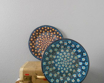 large vintage spanish mexican bisque ceramic hand painted flower wall plate / blue / red / orange