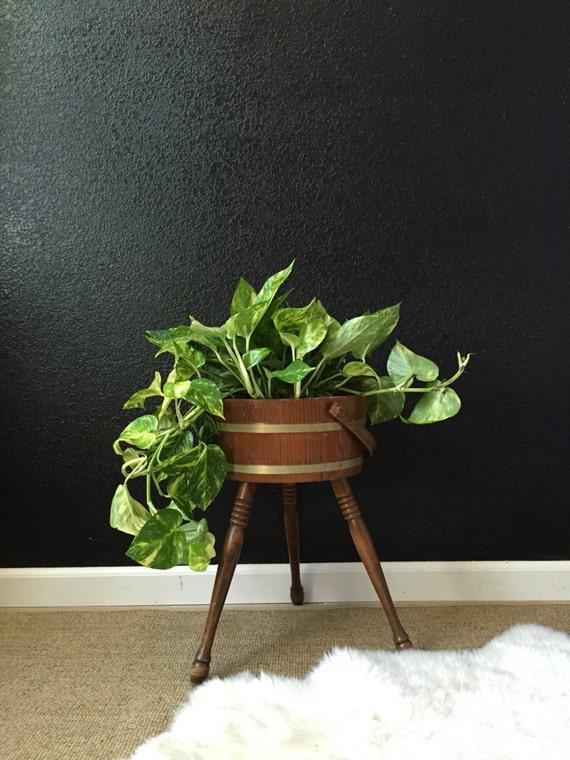 Vintage Wooden Bucket Planter With Legs Pail Flower Pot