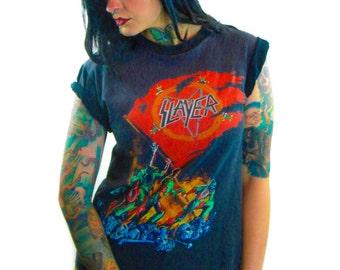 Vintage Slayer Shirt 1989 Concert Shirt 80s Tee 80s shirt Vintage Slayer Tee Concert tee Concert Tour European Campaign Black Sabbath Danzig