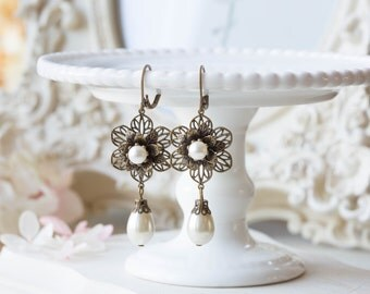 Bridal Earrings, Vintage Style Wedding Earrings, Cream White Pearls Dangle Earrings, Antiqued Brass Filigree Flowers Leaverback Earrings