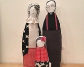 Reserved for Jean - Custom Family Portrait , mother, father (an Anglican minister) and their daughter Soft sculpture dolls -Timo handmade