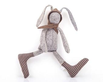cuddly plush silk baby rabbit doll, SMALL plush Greyish bunny in wool hood & socks Stuffed Animal , Soft Sculpture Fabric Doll ,Unusual Gift