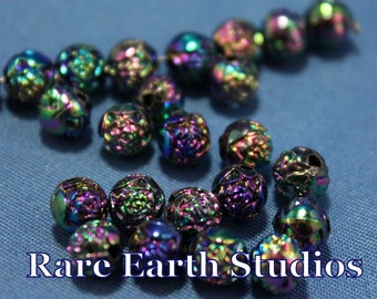 Vintage 5mm Rosebud Glass beads 24 beads 60516121