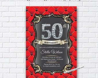 Elegant birthday invitation, RED invitation, 16th 18th 20th 21st 22nd 30th 40th 50th 60th 70th 80th 90th Birthday elegant - card 399