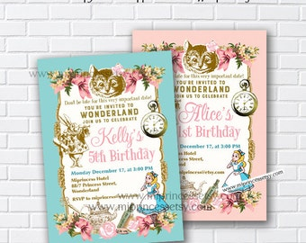 Alice in wonderland invitation, Birthday Invitation, Alice Mad tea party first birthday 1st 2nd 3rd 4th 5th 6th 7th 8th 9th 10th - card 840