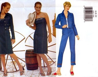 Butterick 6591 Sewing Pattern for Misses'/Misses' Petite Jacket, Dress and Pant - Uncut - Size 6, 8, 10