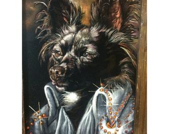 Custom Pet Black Velvet Portrait -  16 x 20