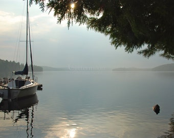 MORNING MIST Photograph - Sailboat on a Lake - Serene