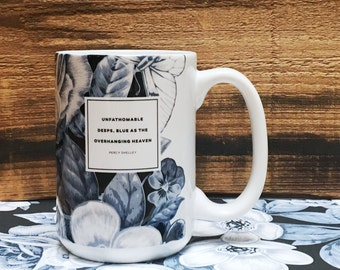 Literary Coffee Mug, Percy Shelley Coffee Cup, Floral Mug Coffee Lover Gift, Botanical Illustration, Indigo College Student Gift for Her