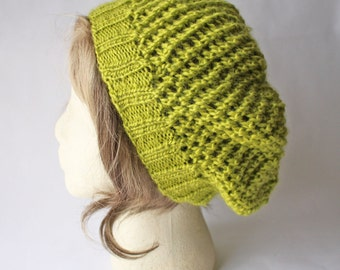 Chartreuse Green Slouchy Knit Hat, Slouchy Knit Hat, Slouchy Knit Lace Hat, Winter Hat
