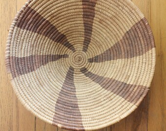 Vintage 70's/80's Botswana African Woven Coil Bowl Basket