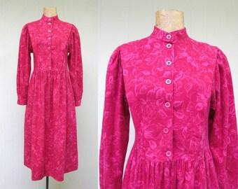 Vintage 1980s Dress / 80s Laura Ashley Rose Pink Brushed Cotton Floral Print Dress / Size 8 US