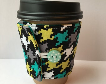 Coffee Cozy- Turquoise, Lime Green, Grey, White and Black Houndstooth Coffee Cup Sleeve- Reusable Fabric Cup Sleeve