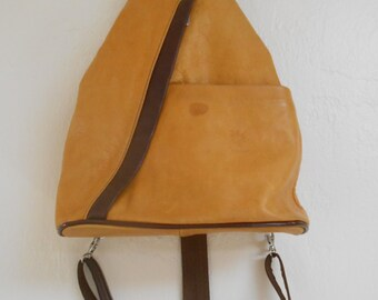 Vintage 1980s FLORENCE yellow leather backpack hand bag / weekender