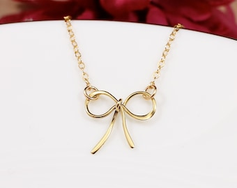 Bow Necklace | Gold Bow Necklace| Gold Necklace | Bridesmaid Necklace | Everyday Necklace | Tie the Knot Jewelry | Choker Necklace