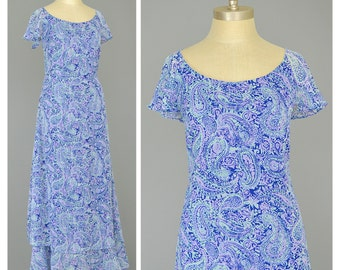 SALE - Boho Maxi Dress Blue Paisley Dress 90s Dress Flutter Sleeve Dress Chiffon Dress Purple Green Navy Blue Dress 1990s Dress
