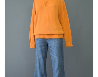 Orange Sweater - 70s Sweater - Mod Sweater - Collared Sweater - Pullover Sweater - Indie Hipster Sweater - 1970s Sweater - Hippie Sweater