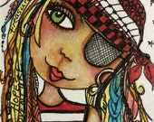 PIRATE GIRL, Girl art, ACEO, Pirate Art, Whimsical Art, Fantasy Art, mixed media art, mixed media print, mixed media, artist, Alicia J Hayes