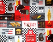 FABRIC-BBQ Fabric-Dad Grilling-BBQ-Grill Master-Barbecue-Barbeque-Flannel Fabric-Great Colors-Sold By The Yard