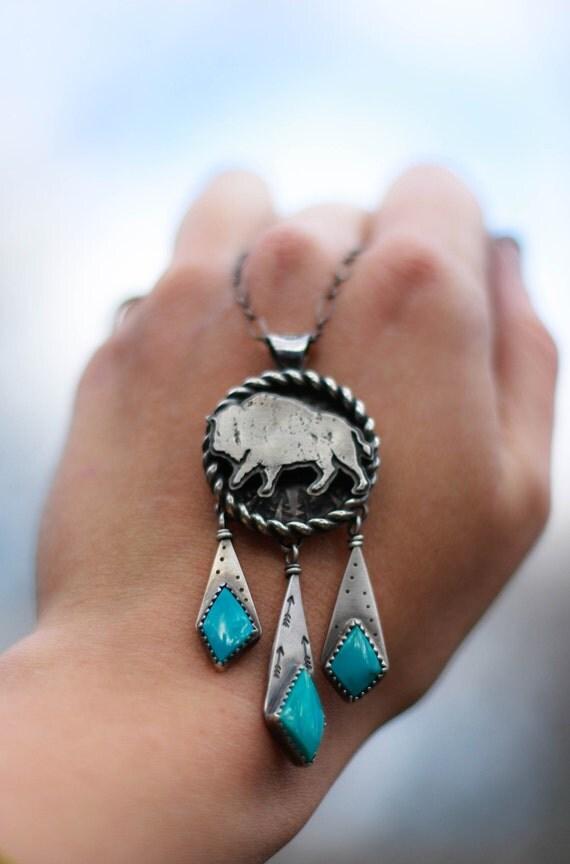 Buffalo Totem Necklace Dreamcatcher Necklace Fox Turquoise