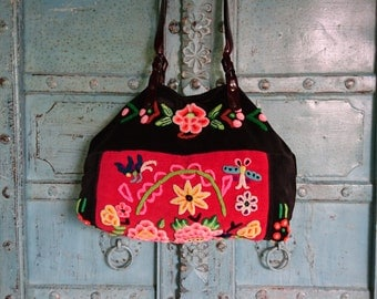 Vintage Hmong tote bag ethnic handmade Tribal embroidery geuine leather strap