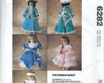 McCalls Crafts 6282 Victoria Doll Clothes Sewing Pattern for 13 to 16 inch Doll