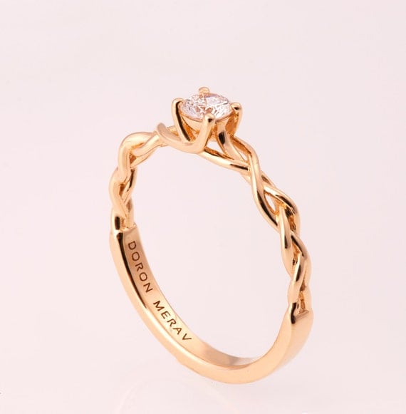 braided engagement ring 2 14k gold and