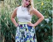 High Waisted Maxi Skirt, multi coloured floral print, citrus linen waistband