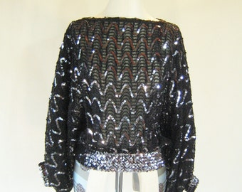 Silver & Black Sequin Large Sleeve Disco Top Glam
