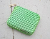 1990s Whiting and Davis Green Metal Mesh Wallet