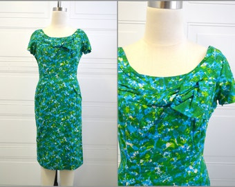 1950s Blue and Green Print Wiggle Dress